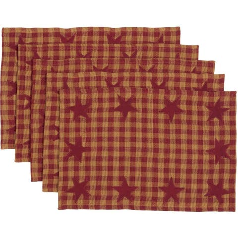 Primitive Tabletop Kitchen VHC Star Placemat Set of 6 Cotton Star Appliqued - Placemat 12x18