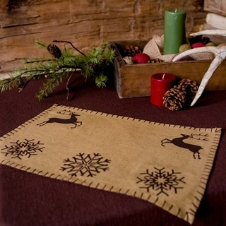 Tan Farmhouse Holiday Decor VHC Prancer Placemat Set of 6 Cotton Nature Print Stenciled Chambray - 12x18