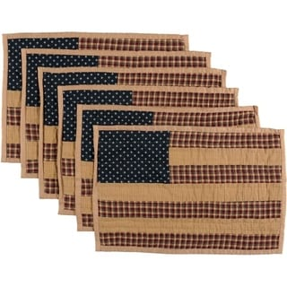 Red Primitive Tabletop Kitchen VHC Patriotic Patch Placemat Set of 6 Cotton Star - 12x18