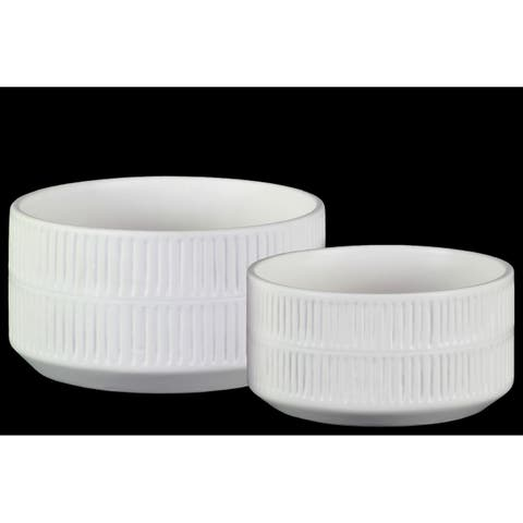 Urban Trends Ceramic Cylindrical Pot with Embossed Large Rectangular Strip and Tapered Bottom in Matte Finish, Set of 2 - White