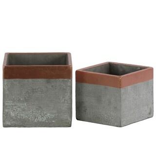 UTC45608 Cement Pot Concrete Painted Finish Gray, Copper