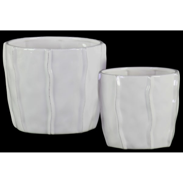 Urban Trends Ceramic Low Pot with Embedded Wave Design Body in Gloss Finish, Set of 2 - White