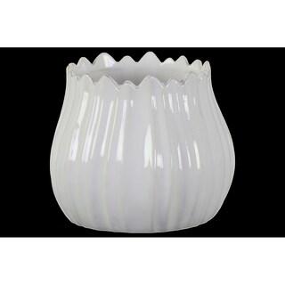 Urban Trends Ceramic Bellied Round Pot with Irregular Shape Lips and Gray Antique Wave Design Body in Gloss Finish - White