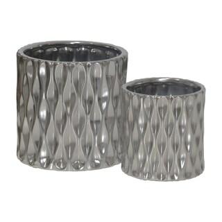 UTC45914 Ceramic Pot Matte Finish Silver