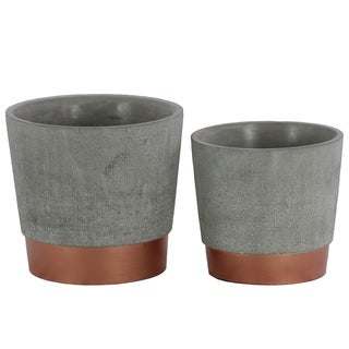 Urban Trends Cement Round Flower Pot with Tapered Bottom on Gold Banded Rim Base in Concrete Finish, Set of 2 - Gray