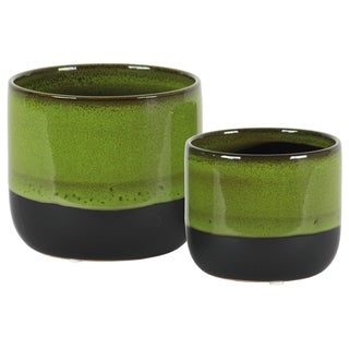 UTC11432: Stoneware Round Pot with Tapered Bottom and Black Banded Rim Bottom Set of Two Gloss Finish Green