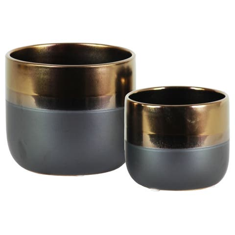 UTC11433: Stoneware Round Pot with Tapered Bottom and Gray Banded Rim Bottom Set of Two Gloss Finish Gold