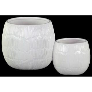UTC37321 Ceramic Pot Gloss Finish White