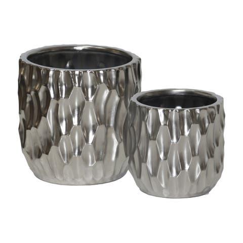 UTC45905 Ceramic Pot Matte Finish Silver