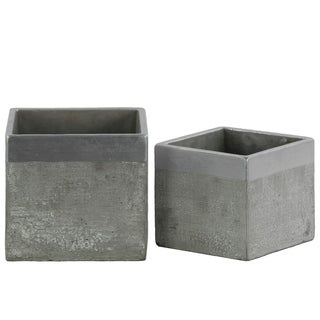 Urban Trends Cement Square Flower Pot with Silver Painted Banded Rim Top in Concrete Finish, Set of 2 - Gray