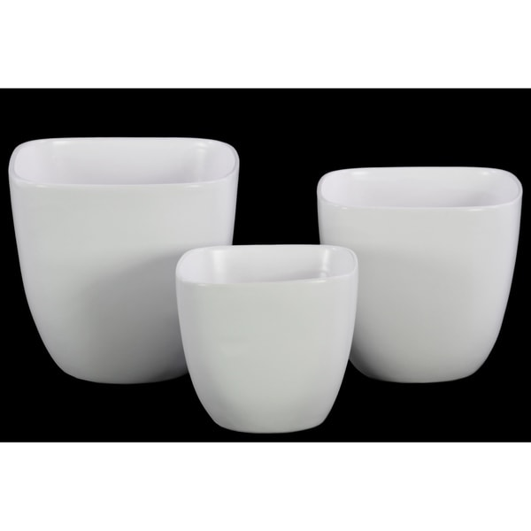 Urban Trends Ceramic Square Pot with Broad Lips and Tapered Bottom in Coated Finish, Set of 3 - White
