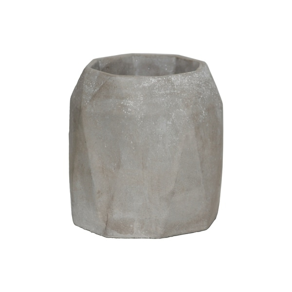 225 & Urban Trends Cement Tall Round Flower Pot with Diamond Pattern Design Body in Concrete Finish - Gray