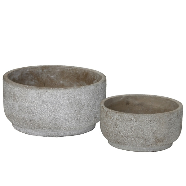 Urban Trends Cement Low Round Flower Pot with Tapered Bottom in Rough Concrete Finish, Set of 2 - Gray