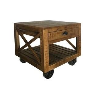 Wanderloot Barn Door Industrial End Table, Brown