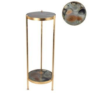 Privilege International Goltone Metal Accent Table with Colored Glass Surfaces