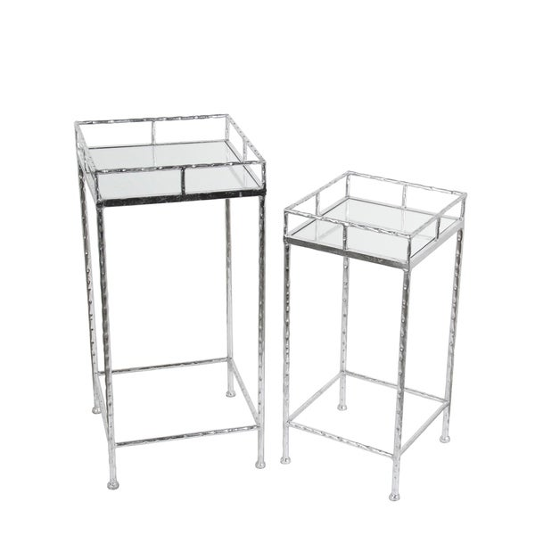 2 Pc Plant Stands - Silver Leaf