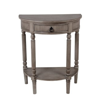 Privilege Grey-weather-stone-Finished Wood 1-drawer Half-round Accent Table