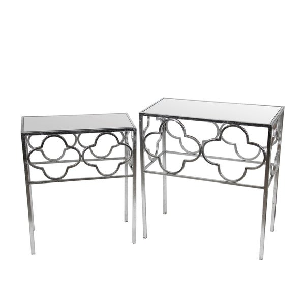 2 Pc Acct Tables - Silver Leaf