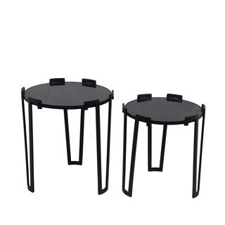 2 Pc Accent Tables - Black Glass