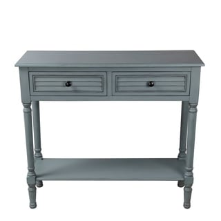 Privilege Blue Grey Wooden Shuttered 2-drawer Console Table