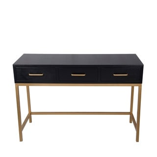 3 Drawer Console Table - Black Shagreen