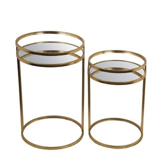 2 Pc Accent Tables - Gold Leaf