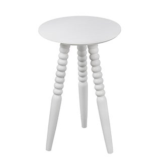 Privilege White Wood Round Accent Table