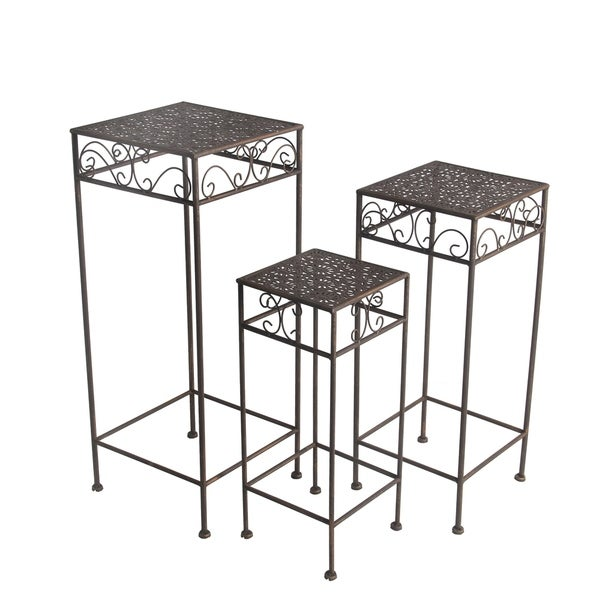 Shop 3 Pc Iron Plant Stands Square Free Shipping Today