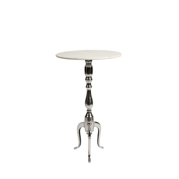 29in Aluminum & Mable Accent Table