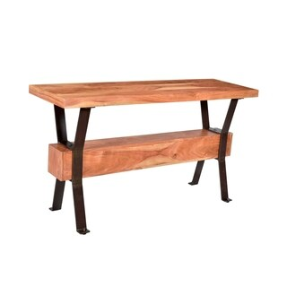 Privilege Iron and Natural Finish Wood Console Table