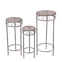 3 Pc Iron Plant Stands - Round