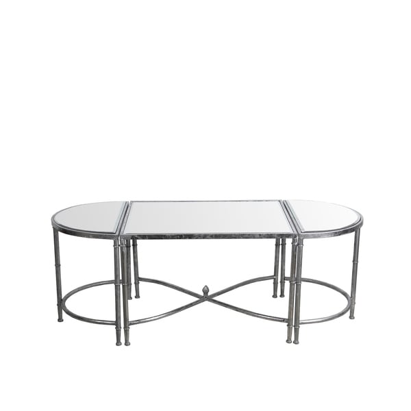 3Pc Coffee Table Set - Silver Leaf