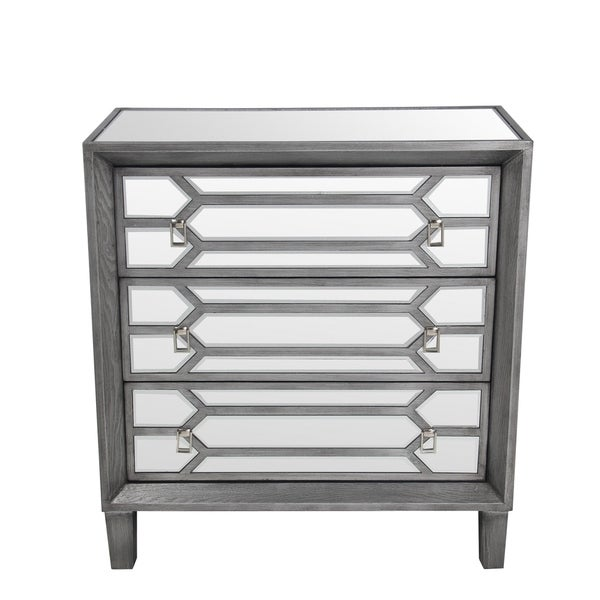 Exceptionnel Privilege Grey Wood/Glass Mirrored 3 Drawer Accent Stand