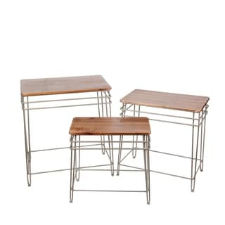 3 Pc Iron & Wood Nesting Tables
