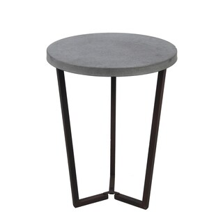 Privilege Grey Iron Round Top Contemporary Accent Table