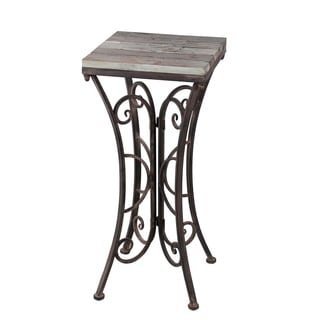 Square Plant Stand   Iron U0026 Wood
