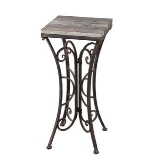 Square Plant Stand - Iron & Wood