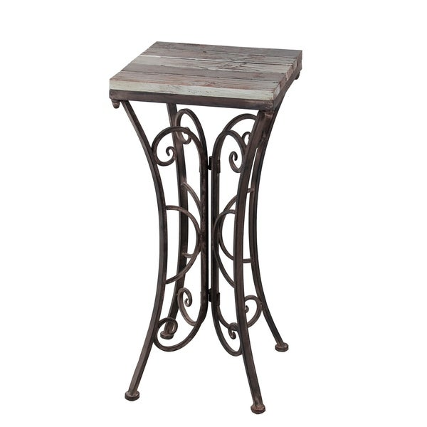 Shop Square Plant Stand Iron Amp Wood Free Shipping
