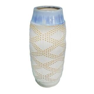 Sagebrook Home-Decorative Ceramic Vase Décor, Beige/Blue