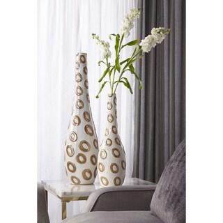 Sagebrook Home-Ceramic Bottle Décor, White