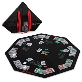MD Sports 8 Player Poker Conversion Top with Bonus Carry Bag, Playing Cards and Poker Chips