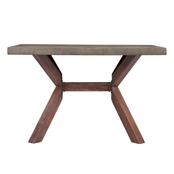 Harper Blvd Mapleton Weathered Walnut Wood Rectangular Indoor/Outdoor  Dining Table With Grey Concrete Top