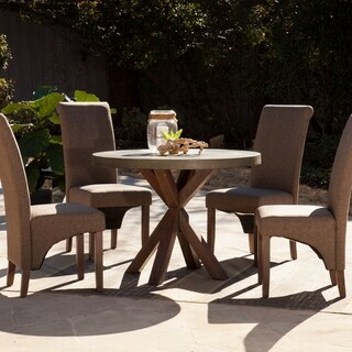 Harper Blvd Mapleton Grey Concrete and Weathered Walnut Finish Wood Round Indoor/Outdoor Dining Table