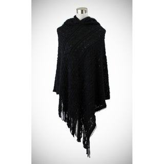 Soft hooded-poncho with chain patterns and eyelash texture.