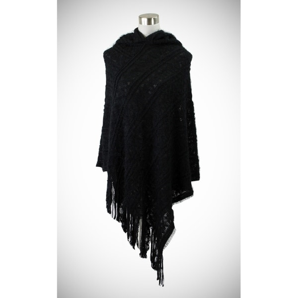 Shop Soft hooded-poncho with chain patterns and eyelash texture ...