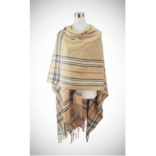 Classic plaid border ruana with fringe