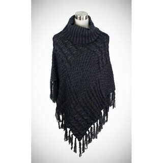 Two-tone cable knit turtleneck poncho in luxurious weight