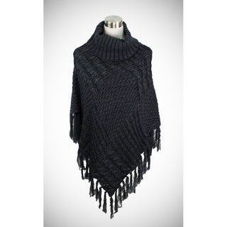 Two-tone cable knit turtleneck poncho in luxurious weight (Option: Brown)