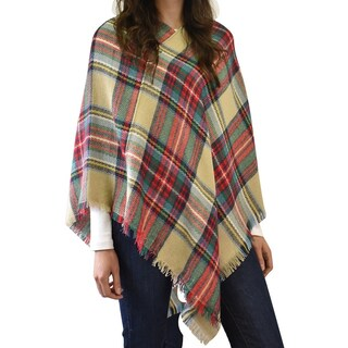 Classic plaid blanket poncho (4 options available)