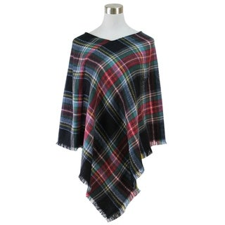 Classic plaid blanket poncho